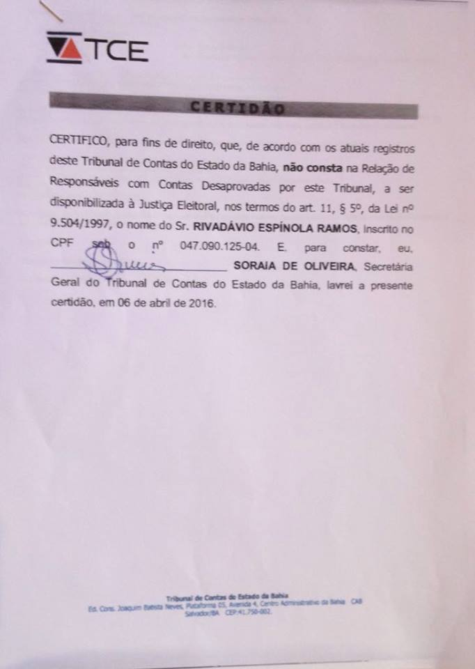 Certidão Rivas TCE